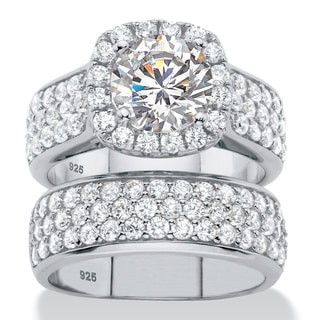 4.43 TCW Round Cubic Zirconia Halo Bridal Wedding Ring Set in Platinum over Sterling Silver Classic CZ
