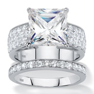 4.80 TCW Princess-Cut Cubic Zirconia Bridal Wedding Ring Set in Platinum over Sterling Classic CZ