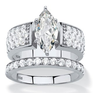 3.01 TCW Marquise-Cut White Cubic Zirconia 2-Piece Bridal Wedding Ring Set in Platinum over Sterling Classic CZ