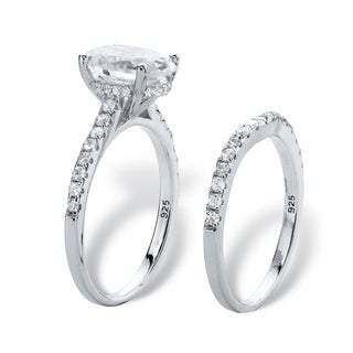 3.14 TCW Oval-Cut Cubic Zirconia Bridal Wedding Ring Set in Platinum over Sterling Silver Classic CZ