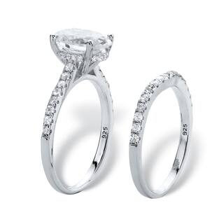 3 14 Tcw Oval Cut Cubic Zirconia Bridal Wedding Ring Set In Platinum Over Sterling Silver