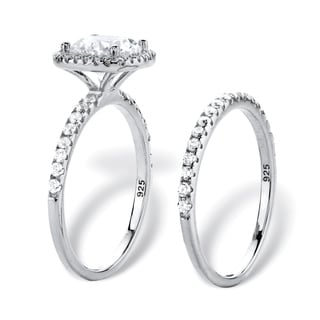 2.65 TCW Round White Cubic Zirconia 2-Piece Halo Bridal Wedding Ring Set in Platinum over  Sterling Classic CZ