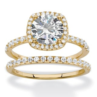 2.65 TCW Round and Pave Cubic Zirconia Bridal Wedding Ring Set in 14k Yellow Gold over Sterling Silver Classic CZ