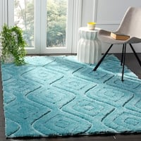 Safavieh Olympia Shag Geometric Polyester Blue Area Rug - 8' x 10'