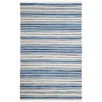 Safavieh Rag Rug Transitional Stripe Hand-Woven Cotton Ivory/ Blue Area Rug - 10' x 14'