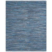Safavieh Rag Rug Transitional Stripe Hand-Woven Cotton Blue/ Multi Area Rug - 9' x 12'