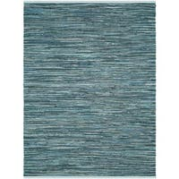 Safavieh Rag Rug Transitional Stripe Hand-Woven Cotton Turquoise/ Multi Area Rug - 10' x 14'