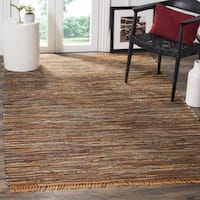 Safavieh Rag Rug Transitional Stripe Hand-Woven Cotton Gold/ Multi Area Rug - 10' x 14'