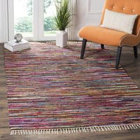 Safavieh Rag Rug Transitional Stripe Hand-Woven Cotton Multi Area Rug - 10' x 14'