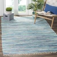 Safavieh Rag Rug Transitional Stripe Hand-Woven Cotton Turquoise/ Multi Area Rug - 10' x 14'