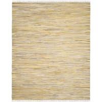 Safavieh Rag Rug Transitional Stripe Hand-Woven Cotton Gold/ Multi Area Rug - 10' x 14'