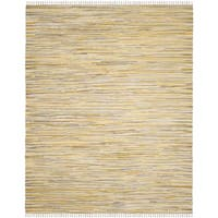 Safavieh Rag Rug Transitional Stripe Hand-Woven Cotton Gold/ Multi Area Rug - 9' x 12'