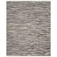 Safavieh Rag Rug Transitional Stripe Hand-Woven Cotton Black/ Multi Area Rug - 10' x 14'