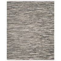 Safavieh Rag Rug Transitional Stripe Hand-Woven Cotton Black/ Multi Area Rug - 9' x 12'