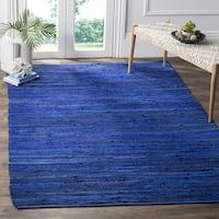 Safavieh Rag Rug Transitional Stripe Hand-Woven Cotton Blue/ Multi Area Rug - 10' x 14'