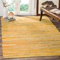 Safavieh Rag Rug Transitional Stripe Hand-Woven Cotton Yellow/ Multi Area Rug - 9' x 12'