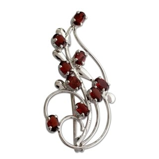 Handcrafted Sterling Silver 'My Bouquet' Garnet Brooch Pin (India)