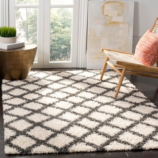 Safavieh Dallas Shag Geometric Ivory/ Grey Area Rug (8'6 x 12')