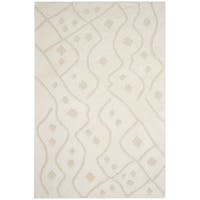 Safavieh Sparta Shag Contemporary Geometric Polyester Ivory/ Beige Area Rug - 8' x 10'