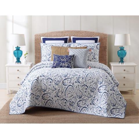 Oceanfront Resort Indienne Paisley Printed Cotton 3-Piece Quilt Set