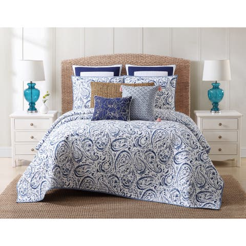 Oceanfront Resort Indienne Paisley Printed Cotton 3-Piece Quilt Set