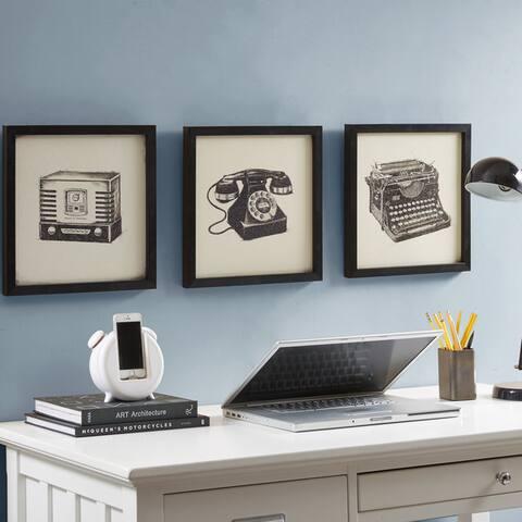 Intelligent Design Vintage Models Black Gel Coated Print Shadowbox - Set of 3