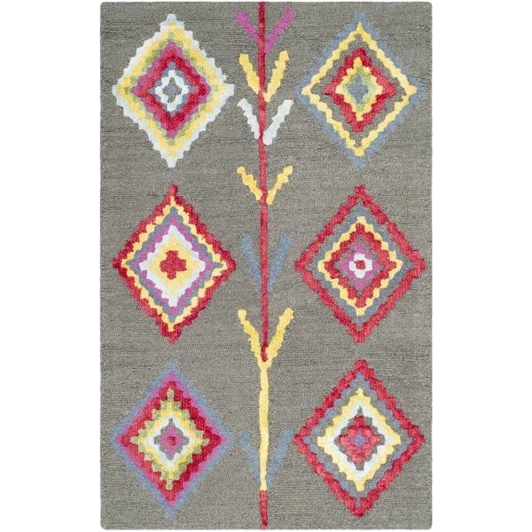 Safavieh Bellagio Contemporary Geometric Hand-Tufted Wool Dark Grey/ Multi Area Rug (2' x 3')