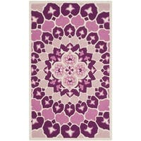 Safavieh Bellagio Contemporary Geometric Hand-Tufted Wool Pink/ Ivory Area Rug - 2' x 3'