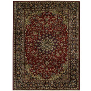 Herat Oriental Persian Hand-knotted Tribal Isfahan Wool Rug (9'9 x 13'3)