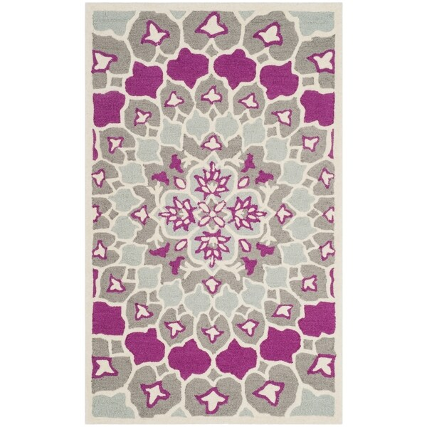Safavieh Bellagio Contemporary Geometric Hand-Tufted Wool Grey/ Ivory Area Rug (2' x 3')