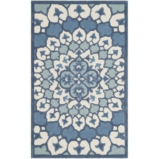 Safavieh Bellagio Contemporary Geometric Hand-Tufted Wool Ivory/ Blue Area Rug (2' x 3')