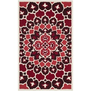 Safavieh Bellagio Contemporary Geometric Hand-Tufted Wool Red/ Ivory Area Rug (2' x 3')