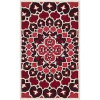 Safavieh Bellagio Contemporary Geometric Hand-Tufted Wool Red/ Ivory Area Rug - 2' x 3'