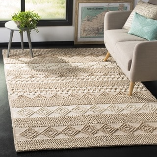 Safavieh Natura Transitional Geometric Hand-Tufted Wool Grey/ Ivory Area Rug (2' x 3')