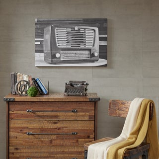 INK+IVY Vintage Radio Black/ White Gel Coated Canvas