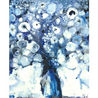 Hobbitholeco Irina K. 'Blue Flowers' Gel Brush-finished 30- x 40-inch Canvas Art