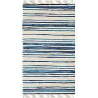 Safavieh Rag Rug Transitional Stripe Hand-Woven Cotton Ivory/ Blue Area Rug - 2' X 3'