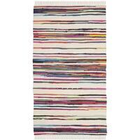 Safavieh Rag Rug Transitional Stripe Hand-Woven Cotton Ivory/ Multi Area Rug - 2' x 3'