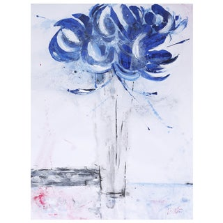Irina K. 'Blue Flower II' Gel Brush Finish 30-inch x 40-inch Canvas Art