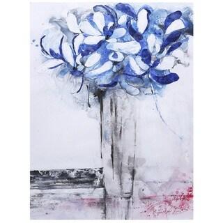 """Hobbitholeco Irina K. 'Blue Flower I' Gel Brush-finish Canvas Art (30"""" x 40"""")"""