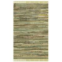 Safavieh Rag Rug Transitional Stripe Hand-Woven Cotton Light Green/ Multi Area Rug - 2'6 x 4'