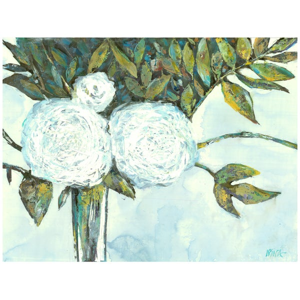 Irina K. 'Floral White' Gel Brush Finish 30-inch x 40-inch Canvas Art