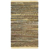Safavieh Rag Rug Transitional Stripe Hand-Woven Cotton Yellow/ Multi Area Rug - 2' x 3'