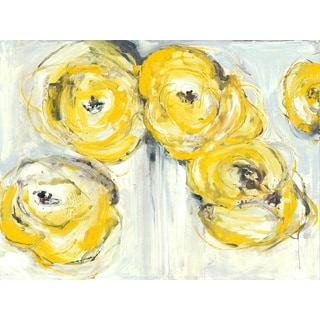 Irina K. 'Floral Yellow' Gel Brush Finish 30-inch x 40-inch Canvas Art