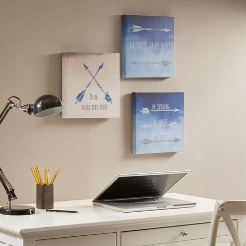 Intelligent Design Sentiment Arrows Blue Printed Canvas - Set of 3