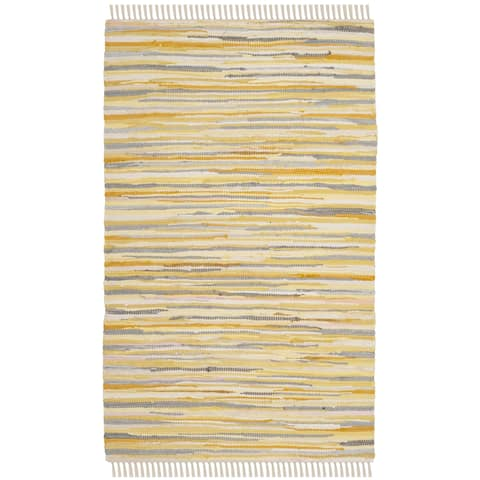 Safavieh Rag Rug Transitional Stripe Hand-Woven Cotton Gold/ Multi Area Rug - 2' x 3'