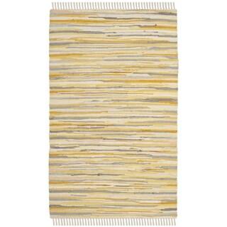Safavieh Rag Rug Transitional Stripe Hand-Woven Cotton Gold/ Multi Area Rug - 2' x 3'