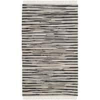 Safavieh Rag Rug Transitional Stripe Hand-Woven Cotton Black/ Multi Area Rug - 2' x 3'