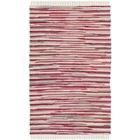 Safavieh Rag Rug Transitional Stripe Hand-Woven Cotton Red/ Multi Area Rug - 2' x 3'