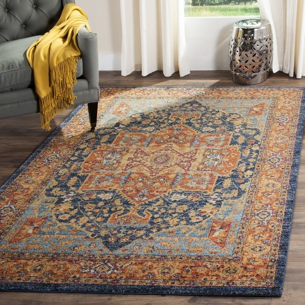 Elegant Safavieh Evoke Vintage Geometric Blue/ Orange Area Rug (12u0026#x27; ...
